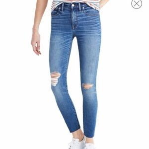 Madewell 9 high rise skinny crop jeans distressed